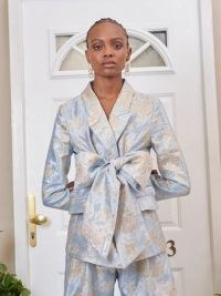 sister jane DREAM Emblem Floral Bow Blazer Baby Blue and Silver – luxe style occasion blazers