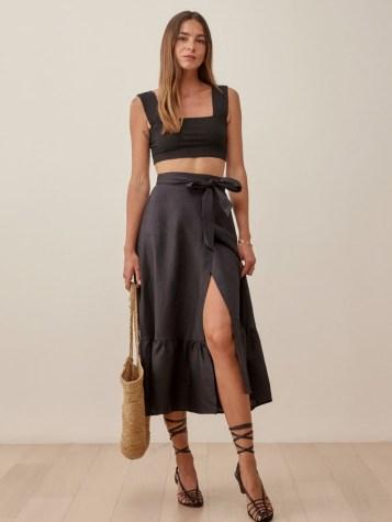 Reformation Julep Linen Skirt | black frill hem midi skirts