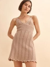 REFORMATION Junio Open Knit Dress ~ strappy knitted mini dresses