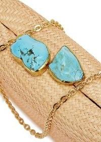 KAYU Jen sand woven straw clutch / turquoise stone embellished shoulder bag