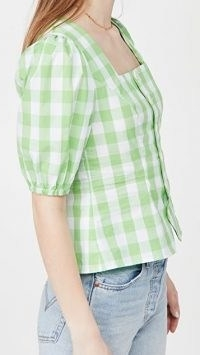 KITRI Bridget Gingham Top Green Gingham ~ checked puff sleeve tops with square neck
