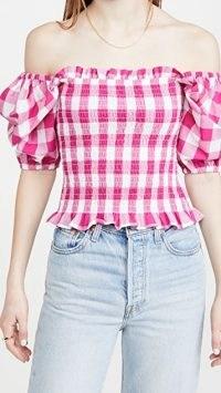 KITRI Carmilla Gingham Top ~ pink check bardot tops