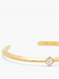 LIZZIE MANDLER Knife Edge diamond & 18kt gold bracelet / slim open band bracelets / luxe jewellery