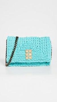 Kooreloo Crochet Bag in Seafoam Green ~ knitted chain strap flap bags