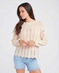 PAIGE Kuzuyu Sweater Ecru | crochet scalloped edge sweaters