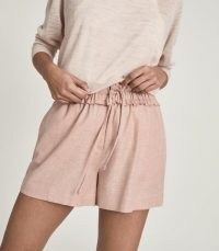 REISS LACEY LINEN BLEND DRAWCORD SHORTS ~ pink sports-inspired clothing ~ casual weekend style