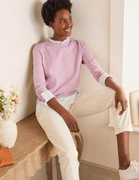 Boden Lauderdale Cotton Frill Jumper Soft Peony | scallop-trim jumpers