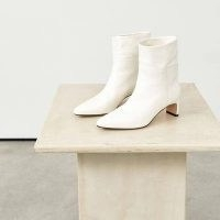 DEAR FRANCES SWAY BOOT ~ white leather pointed toe ankle boots