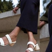 DEAR FRANCES SCRUNCH MULE CHALK ~ white leather double strap mules with sculptural wooden heel