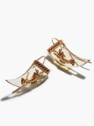 DEZSO Lemon quartz & 18kt rose-gold lobster earrings / ocean inspired jewellery - flipped
