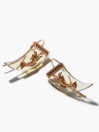DEZSO Lemon quartz & 18kt rose-gold lobster earrings / ocean inspired jewellery