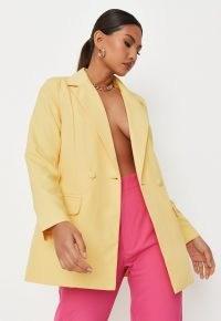 MISSGUIDED lemon tailored longline blazer ~ women's yellow summer blazers
