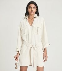 REISS LIA TWIN POCKET DRESS CREAM ~ chic sports-inspired dresses