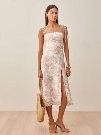 REFORMATION Liesel Linen Dress in Abalone / skinny strap dresses