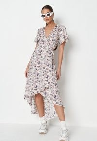MISSGUIDED lilac floral print wrap high low midi dress ~ asymmetric hem tea dresses