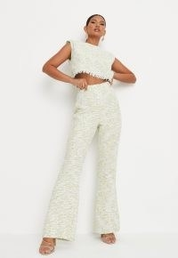 Missguided lime tailored boucle flared trousers   retro textured fabric flares