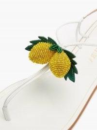 AQUAZZURA Limoncello beaded leather sandals / white strappy lemon embellished flats / fruit on footwear