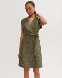JIGSAW LINEN ANIMAL POLKA SHORT DRESS KHAKI / green wrap style dresses