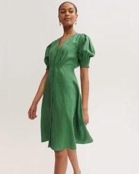 JIGSAW LINEN BUTTON FRONT TEA DRESS / green vintage style puff sleeve dresses