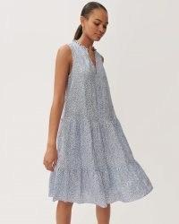 JIGSAW LINEN FOLIAGE DITSY TOP BLUE / sleeveless tiered summer dresses