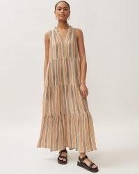 Jigsaw LINEN INKED STRIPE MAXI DRESS – sleeveless tiered summer dresses