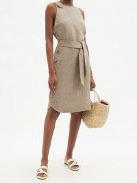 LISA MARIE FERNANDEZ Linen-blend twill midi dress ~ chic sleeveless tie waist summer dresses