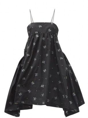 CECILIE BAHNSEN Lisbeth floral-embroidered taffeta dress / black voluminous skinny strap dresses - flipped