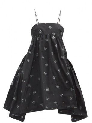 CECILIE BAHNSEN Lisbeth floral-embroidered taffeta dress / black voluminous skinny strap dresses