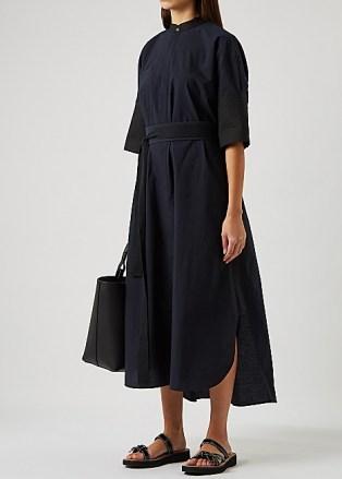 LOEWE Midnight blue belted cotton-blend shirt dress - flipped