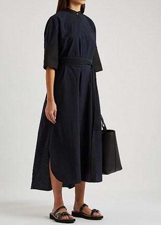 LOEWE Midnight blue belted cotton-blend shirt dress