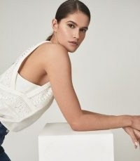 REISS LOIS EMBROIDERED SLEEVELESS TOP WHITE ~ little details make a big impact ~ summer tops with embroidery