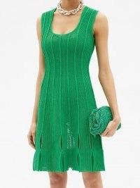 BOTTEGA VENETA Green looped-hem scoop-neck cotton-blend mini dress | sleeveless knitted occasion dresses