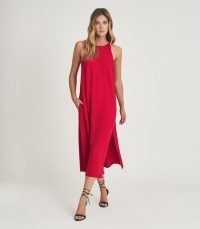 REISS LORNI SHIFT SILHOUETTE MIDI DRESS RED / fluid fabric summer evening dresses