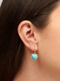 IRENE NEUWIRTH Love diamond, turquoise & 18kt gold earrings / blue stone heart drops