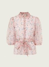 L.K. BENNETT LUELLA PINK SILK WOVEN TOP ~ floral tie waist tops