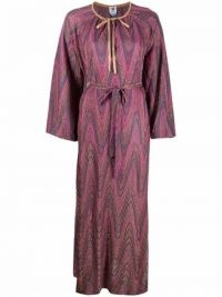 M Missoni abstract-pattern maxi dress in pink / purple – long knitted vintage style dresses