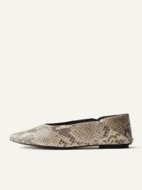 REFORMATION Maja Soft Glove Flat Slipper Tan Snake Emboss