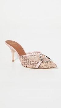 Malone Souliers Missy 70-11 Mules ~ nude mesh mule ~ crochet overlay heels