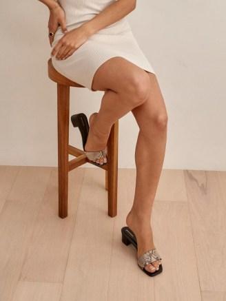 REFORMATION Mandy Minimal Block Heel Mule in Tan Snake Emboss - flipped