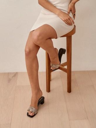 REFORMATION Mandy Minimal Block Heel Mule in Tan Snake Emboss
