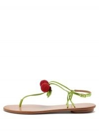 AQUAZZURA Manzanita beaded leather sandals / cherry embellished skinny strap sandal / strappy summer flats / fruit on fashion / cherries