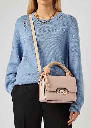 MARC JACOBS (THE) The J Link light pink leather top handle bag – luxe flap bags - flipped