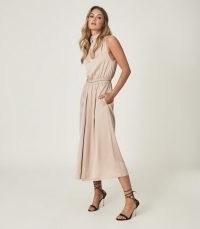 REISS MARCA SATIN HIGH NECK MIDI DRESS BLUSH ~ chic sleeveless fluid fabric dresses
