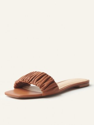 REFORMATION Marcella Ruched Flat Slide in Pecan – brown gathered strap slides – summer flats - flipped