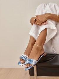 REFORMATION Marcella Ruched Flat Slide in Olympia / blue and white floral print sliders