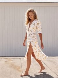 REFORMATION Maribel Linen Dress Tansy | floral thigh high split hem dresses