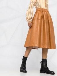 Marni brown leather full mid-length skirt