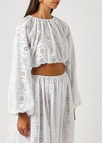 MATTEAU The Crochet Broderie white cropped top