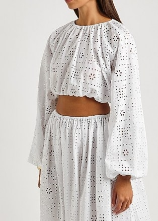 MATTEAU The Crochet Broderie white cropped top - flipped