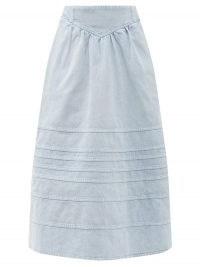SEA Maura basque-waist denim midi skirt ~ pale blue acid washed summer skirts